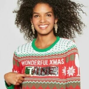 Reversible Sequins Wine Time Christmas Sweater